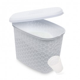 Recipient pentru praf de spălat cu măsură alb