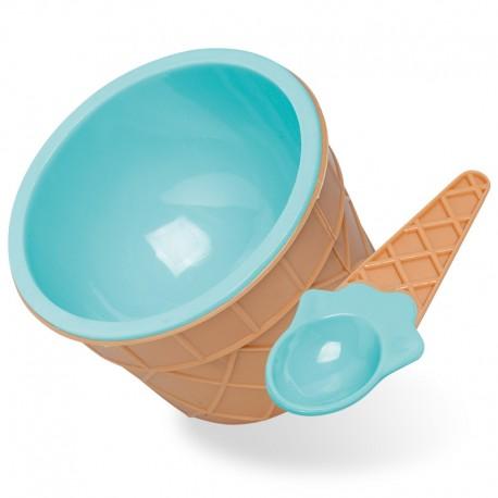 Castron pentru desert cu lingură albastru