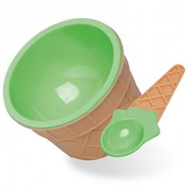 Castron pentru desert cu lingură verde
