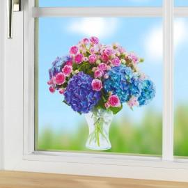 Autocolant pentru geam hortensii şi trandafiri