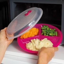 Farfurie triplă cu capac pentru cuptorul cu microunde