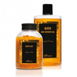 """Spumă de baie şi duş """"Portocală cu scorţişoară"""" + Sare de baie aromată"""