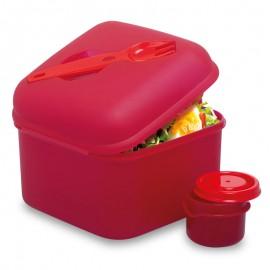 Cutie din plastic pentru salată cu furculiţă şi recipient pentru dressing