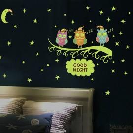 """Decoraţie fluorescentă pentru perete """"Bufniţe"""""""