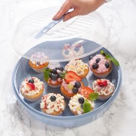 Recipient cu capac pentru prăjituri şi gustări