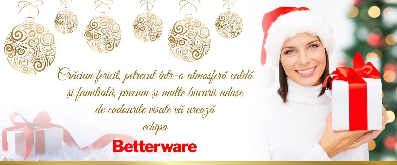 Crăciun fericit, petrecut într-o atmosferă caldă și familială, precum și multe bucurii aduse de cadourile visate vă urează echipa Betterware