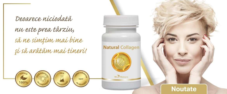 Natural collagen: colagen de peşte + trandafir sălbatic + sulf organic (MSM)